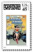 superhero postage stamps