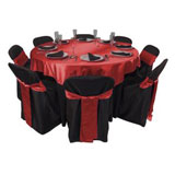 black chair covers red sash