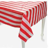 red and white stripe table cover