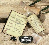 message in a bottle pirate invitations