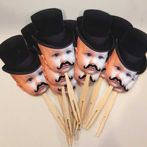 little man tophat photo cupcake toppers