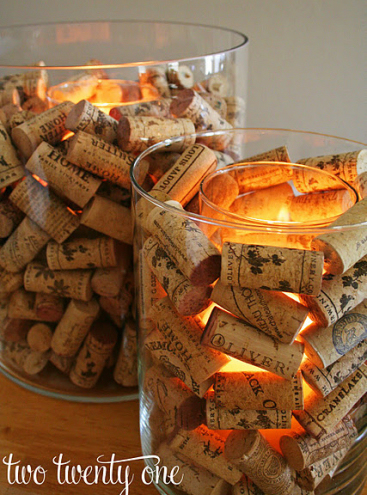 wine cork candle vase
