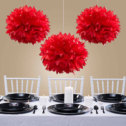 red tissue pom poms