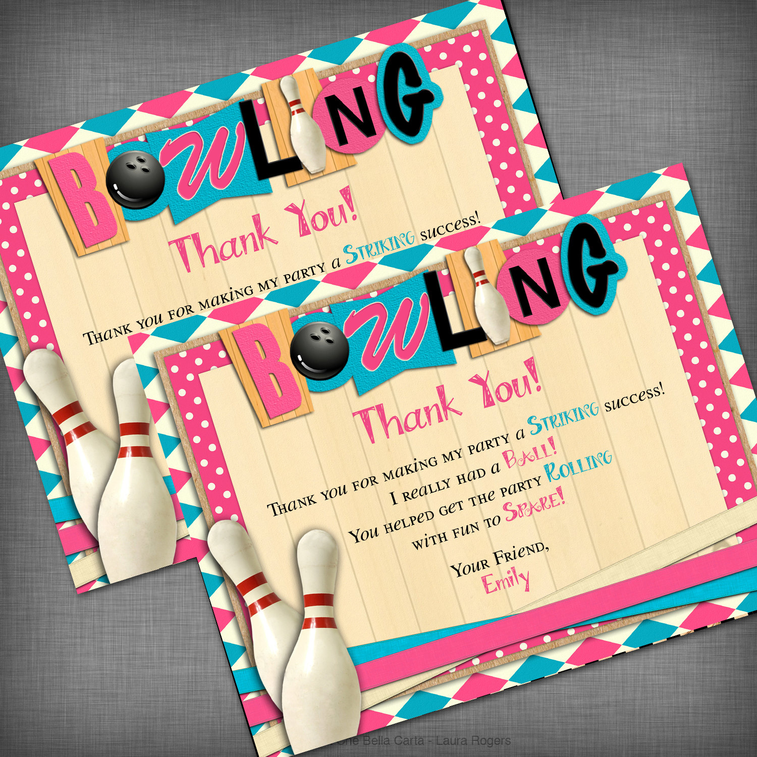 bowling thank you cards
