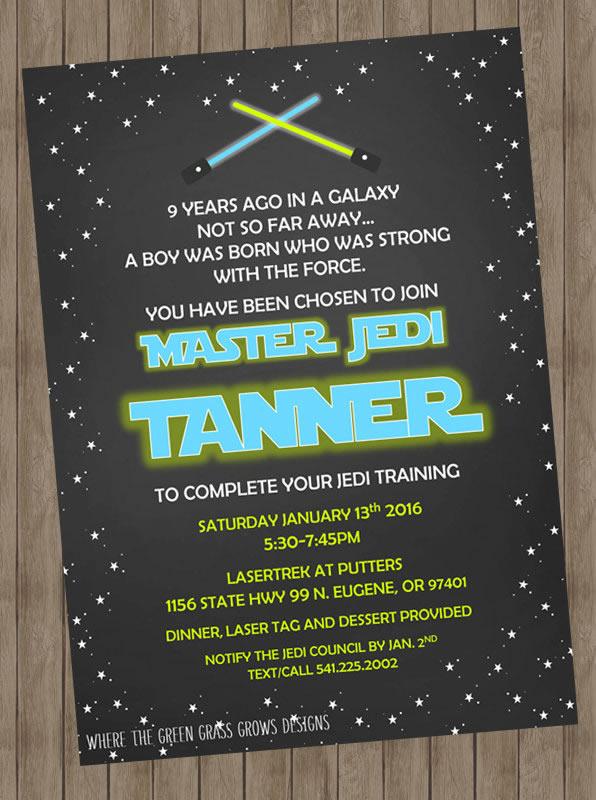personalized star wars birthday invitation