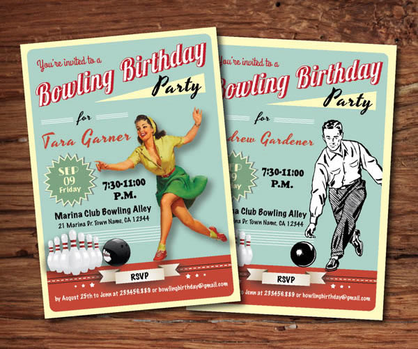 vintage bowling invitations