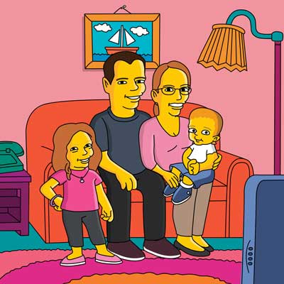 Simpsons-style cartoon caricature portraits