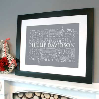 framed personalized word art collage