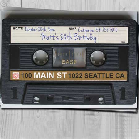 cassette tape birthday party invitation