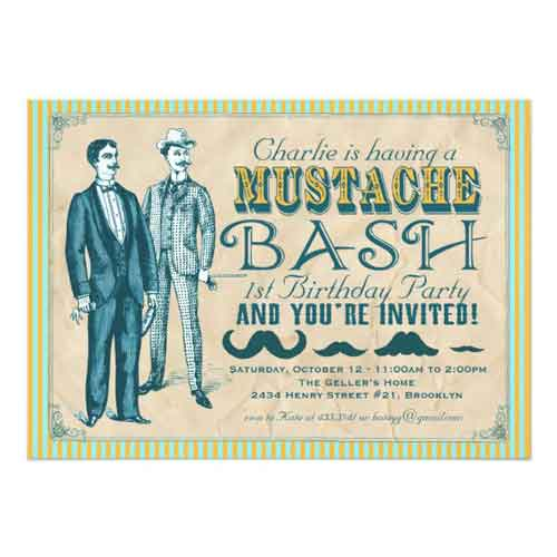 mustache bash invitation
