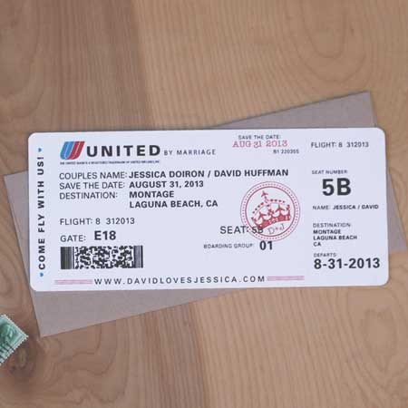 airplane ticket invitations