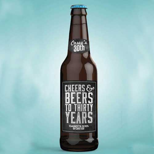 cheers and beers to 30 years beer bottle labels