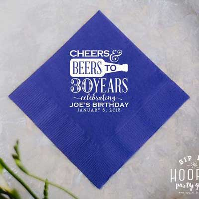 Cheers and Beers to 30 years cocktail napkins