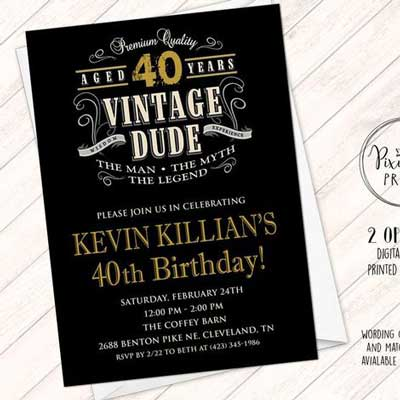 Vintage Dude birthday invitation