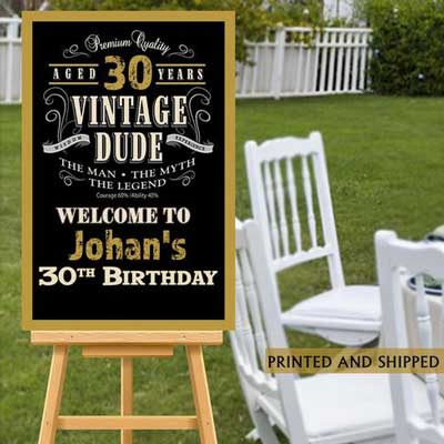 Vintage Dude 30th birthday welcome sign