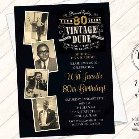 Vintage Dude custom photo invitation