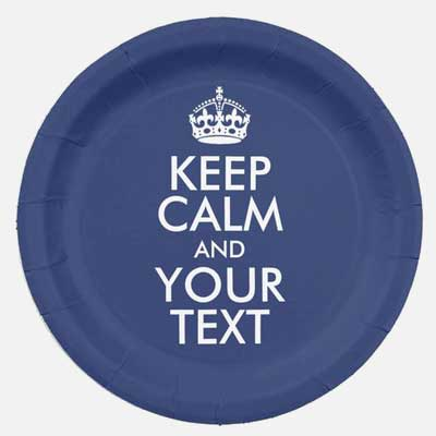 Custom Keep Calm party plates