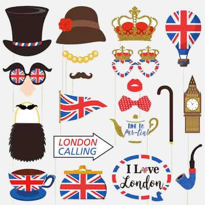 British theme photobooth props