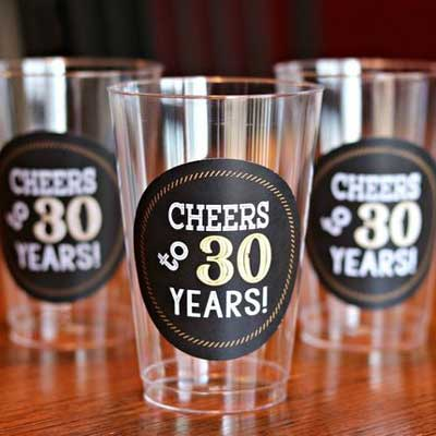 Cheers to 30 years water labels