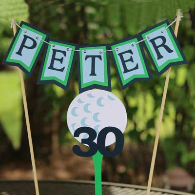 Golf Par-Tee milestone birthday cake topper