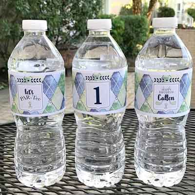 Golf Par-Tee milestone birthday water bottle labels