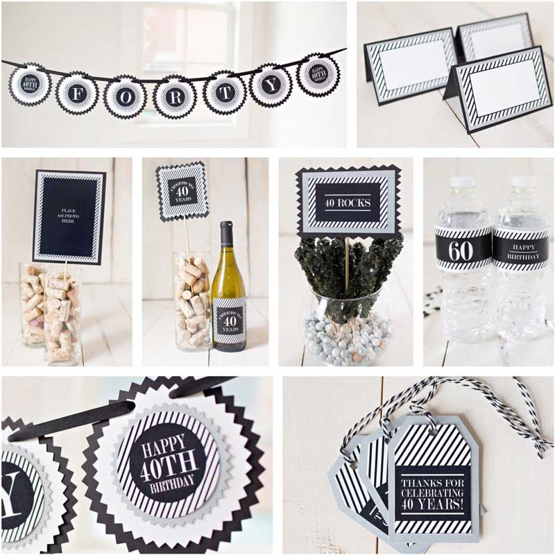 black and silver milestone birthday party decoration kit