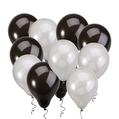 black and white balloons