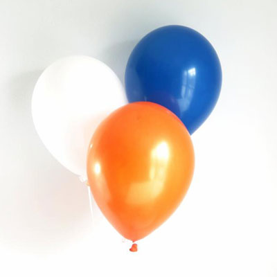blue, orange, white balloons