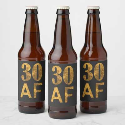 30 AF beer bottle labels