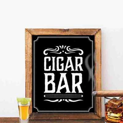 Jack Daniels style Cigar Bar party sign