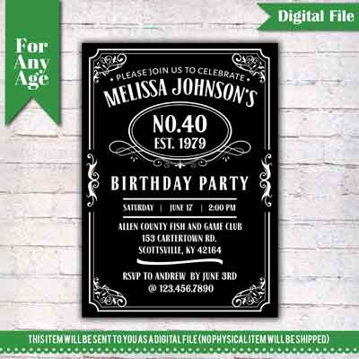 Jack Daniels birthday invitation
