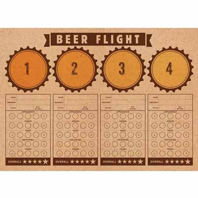 Beer flight tasting placemats