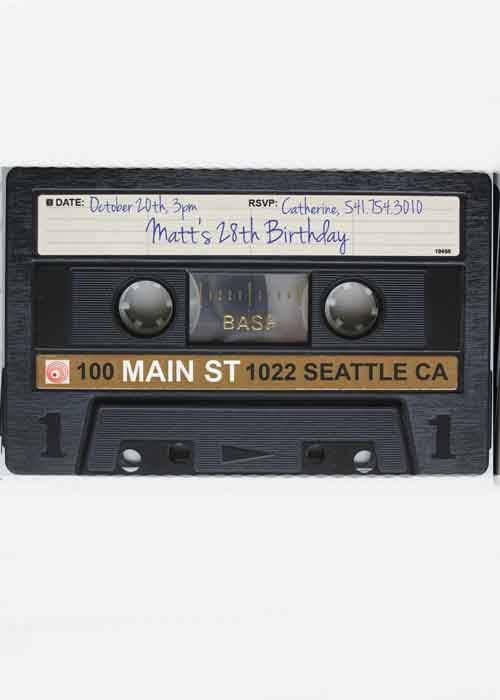 30th Birthday Party Invitation cassette tape