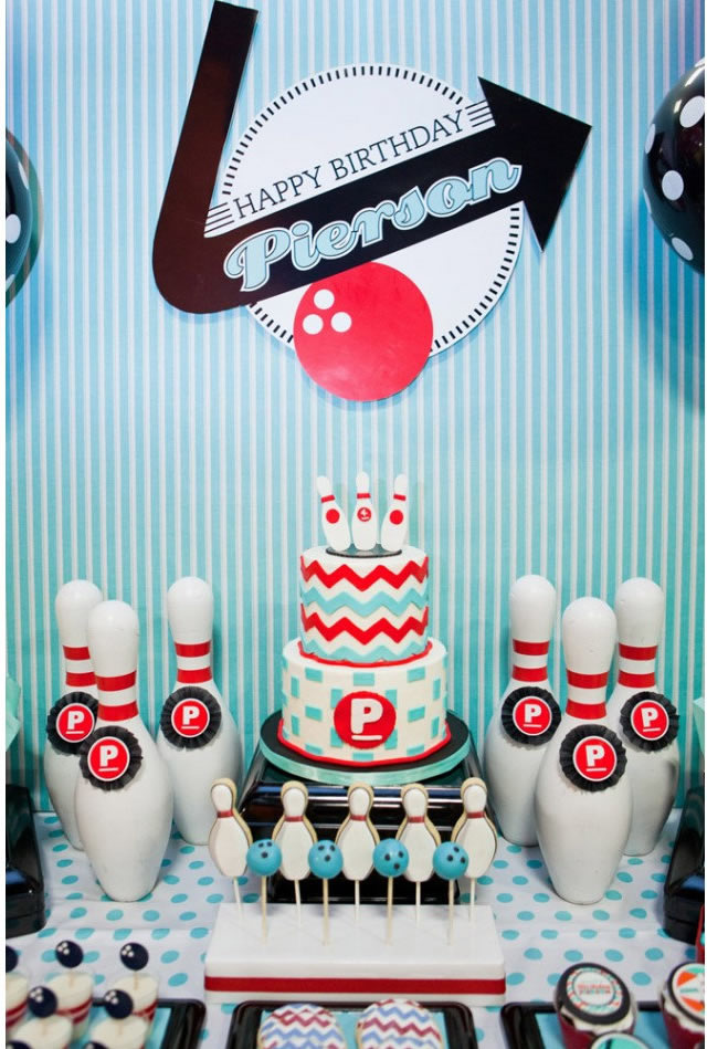 bowling dessert table backdrop