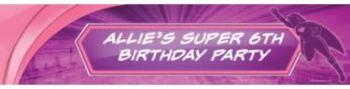 girl superhero party banner