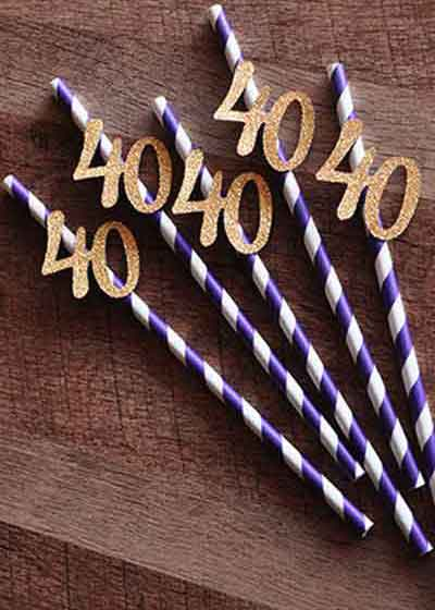 milestone birthday party drinks straws