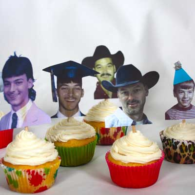 40th birthday party photo cupcake toppers