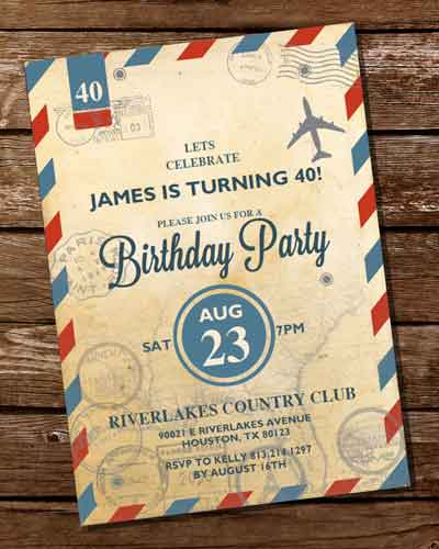 airmail 40th birthday invitation