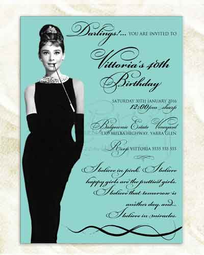Airmail 40th Birthday Invitation Elegant Audrey Hepburn Breakfast At Tiffanys