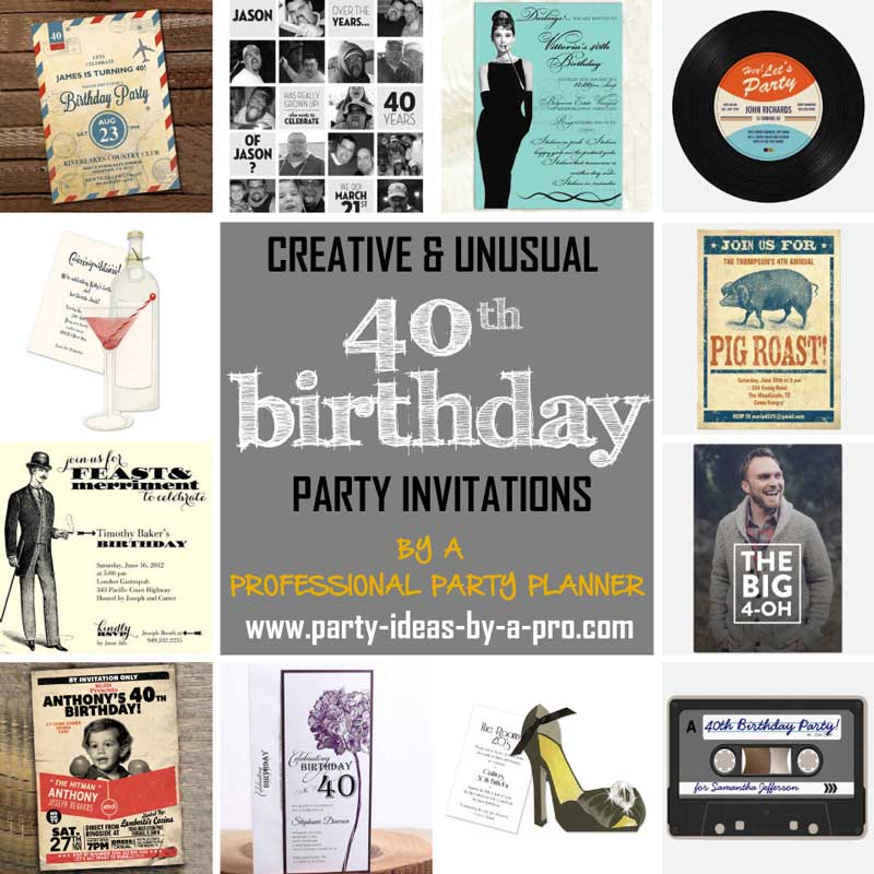 the best 40th birthday invitations by a professional party planner