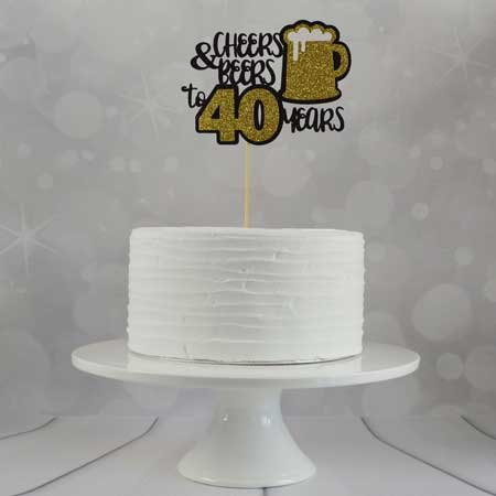 Cheers and Beers to 40 years cake topper