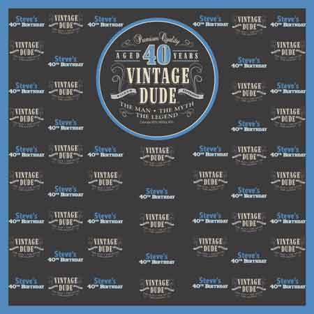 Vintage Dude 40th birthday backdrop