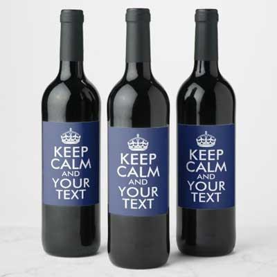 Custom Keep Calm wine bottle labels