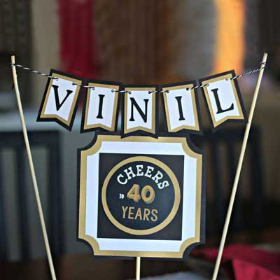 Cheers to 40 Years cake topper