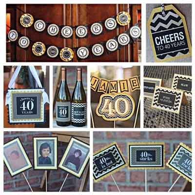 Cheers to 40 Years party supplies