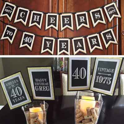 Black and Gold Vintage 40th birthday banner and centerpiece