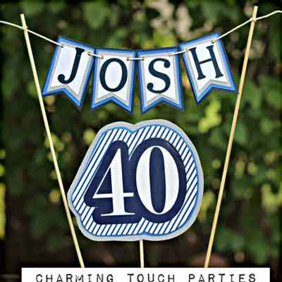 Blue and White Vintage 40th birthday cake topper
