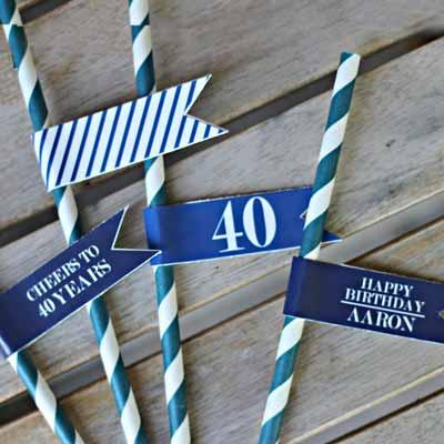 Blue and White Vintage 40th birthday drinks straws