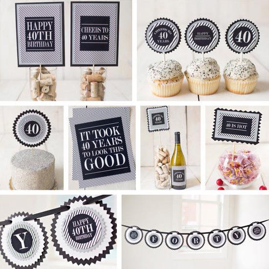 black and silver milestone birthday party decoration kit