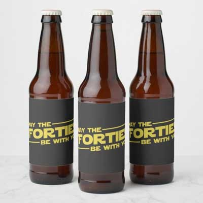 May the Forties Be With You beer bottle labels